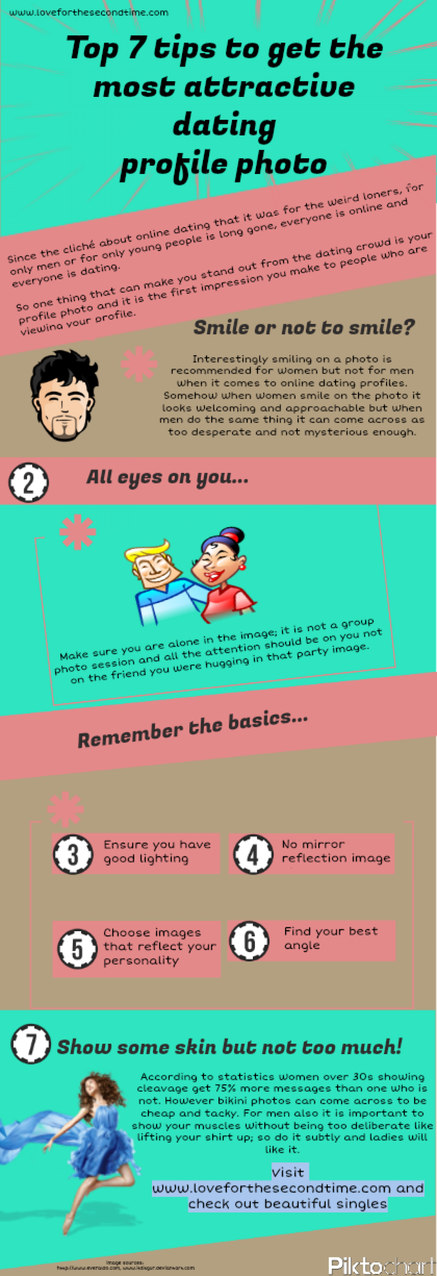 Top tips to get the most attractive dating profile photo Infographic