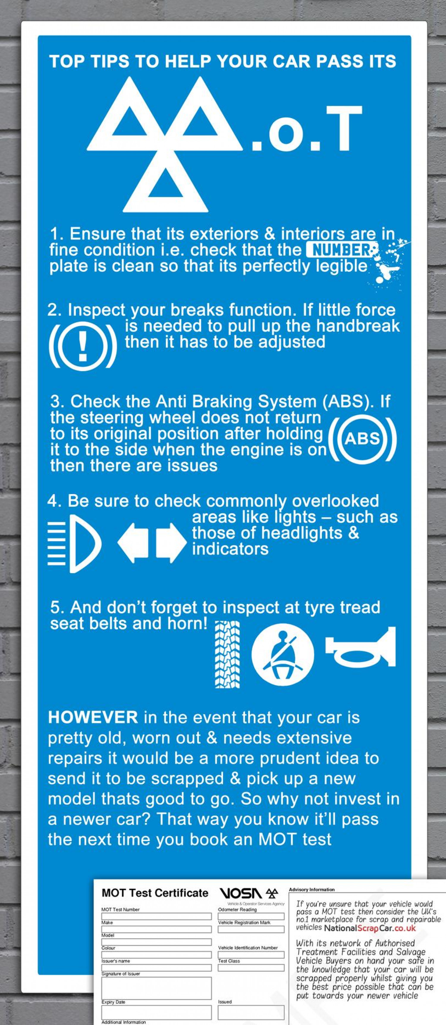 Top Tips to Help Your Car Pass its MOT Infographic
