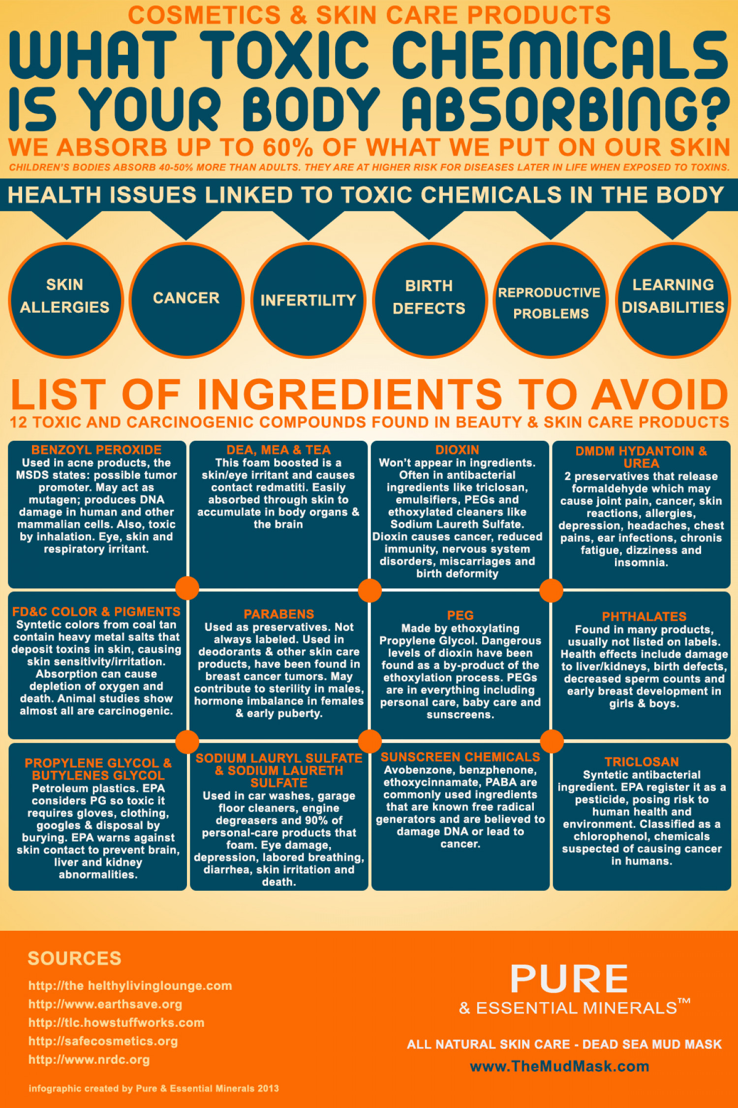 Toxic Chemicals in Cosmetics and Skin Care Products Infographic