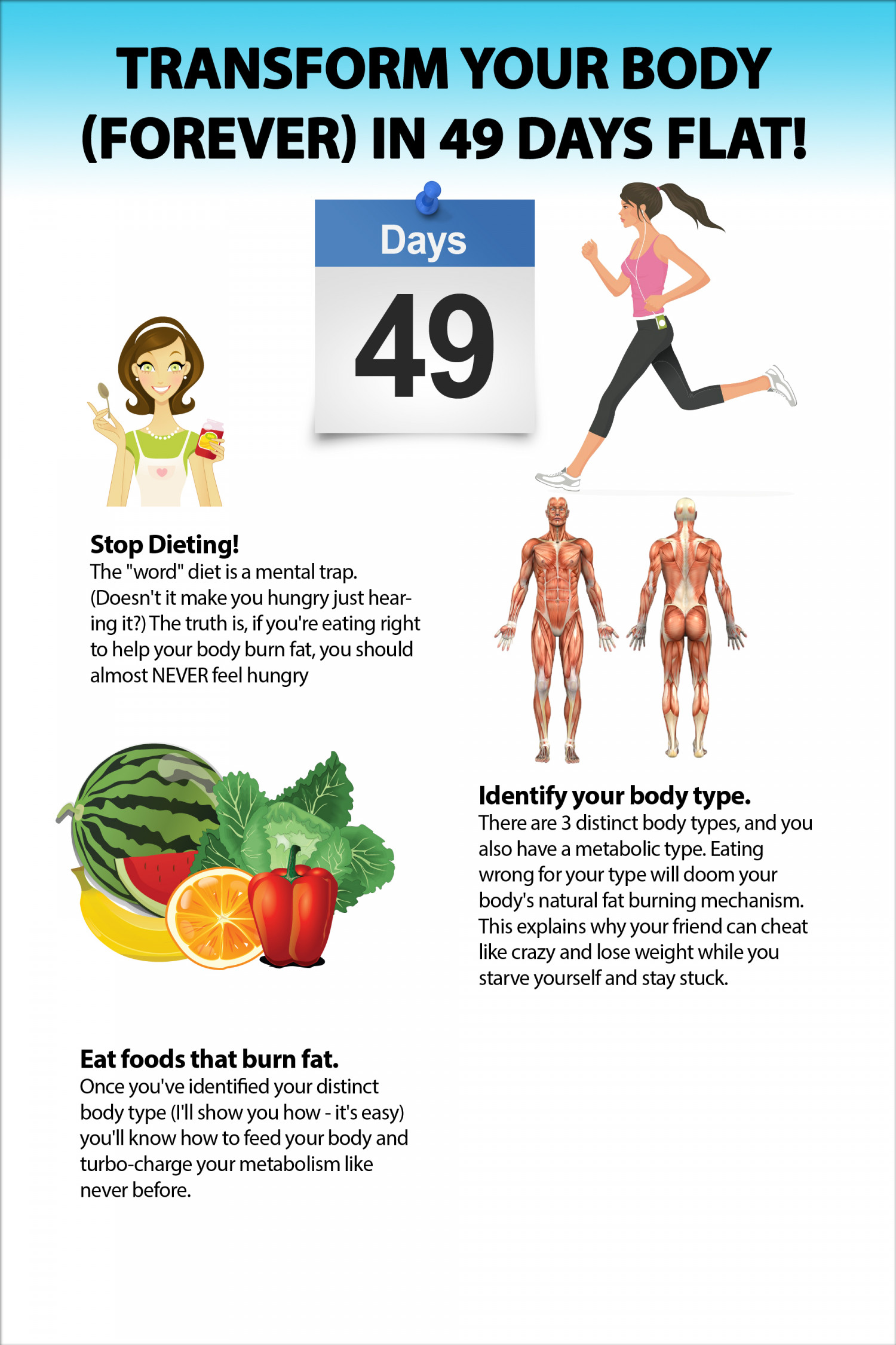 Transform Your Body Flat (Forever) in 49 Days  Infographic