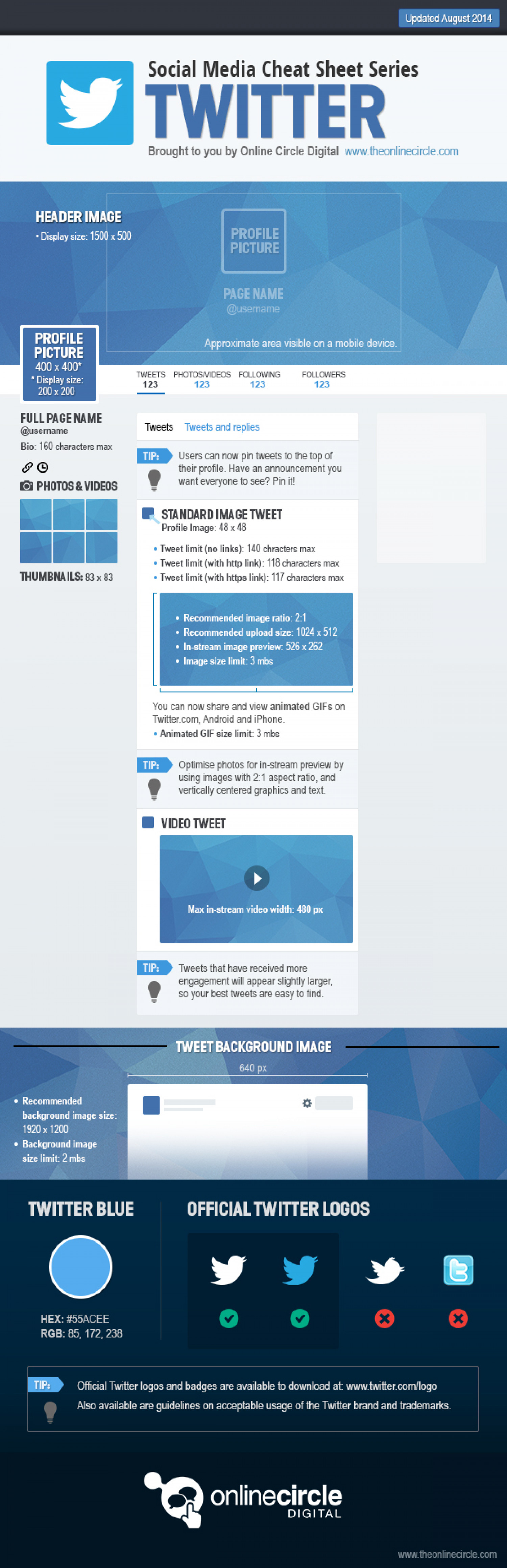 Twitter Sizes and Dimensions Cheat Sheet 2014 - Online Circle Digital  Infographic