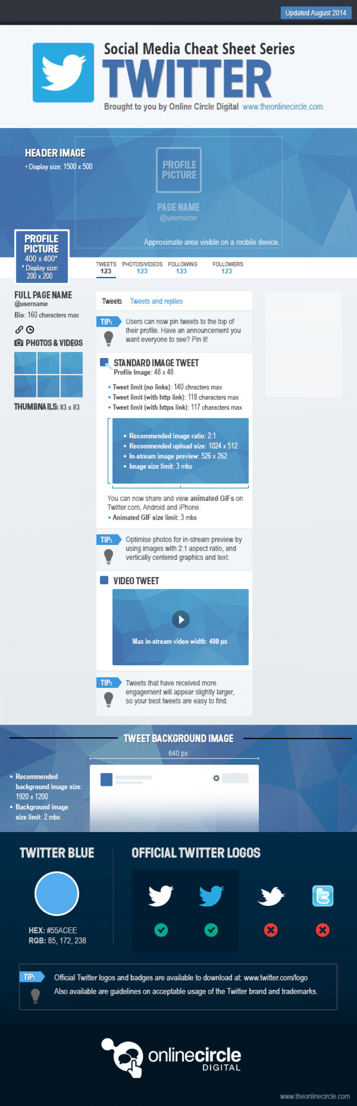 Twitter Sizes and Dimensions Cheat Sheet 2014 - Online Circle Digital