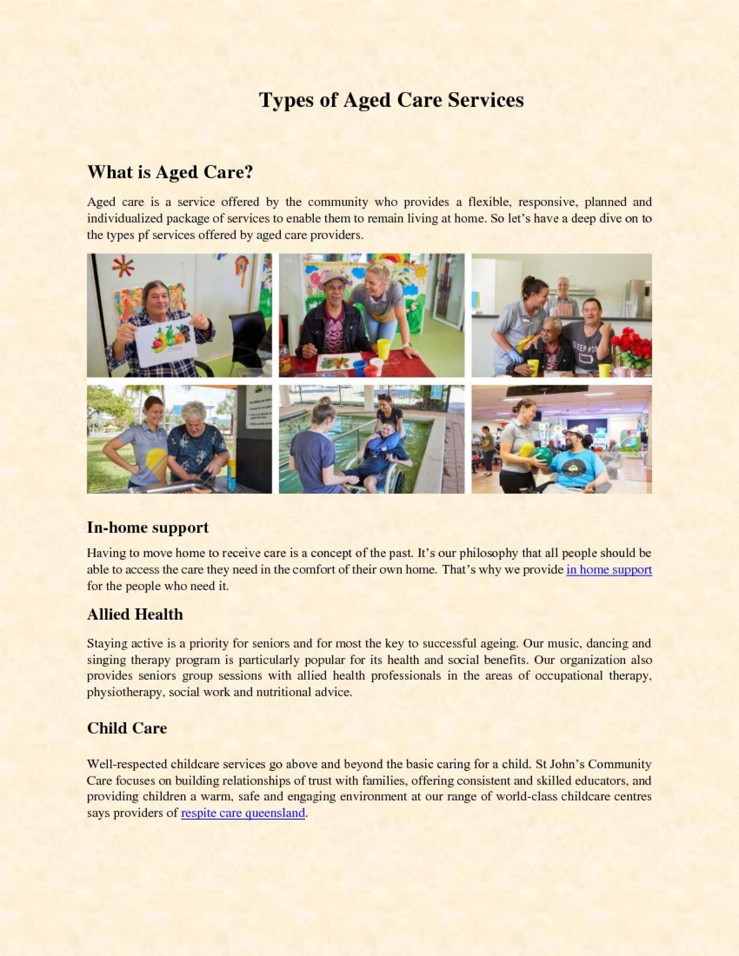 Types of Aged Care Services Infographic