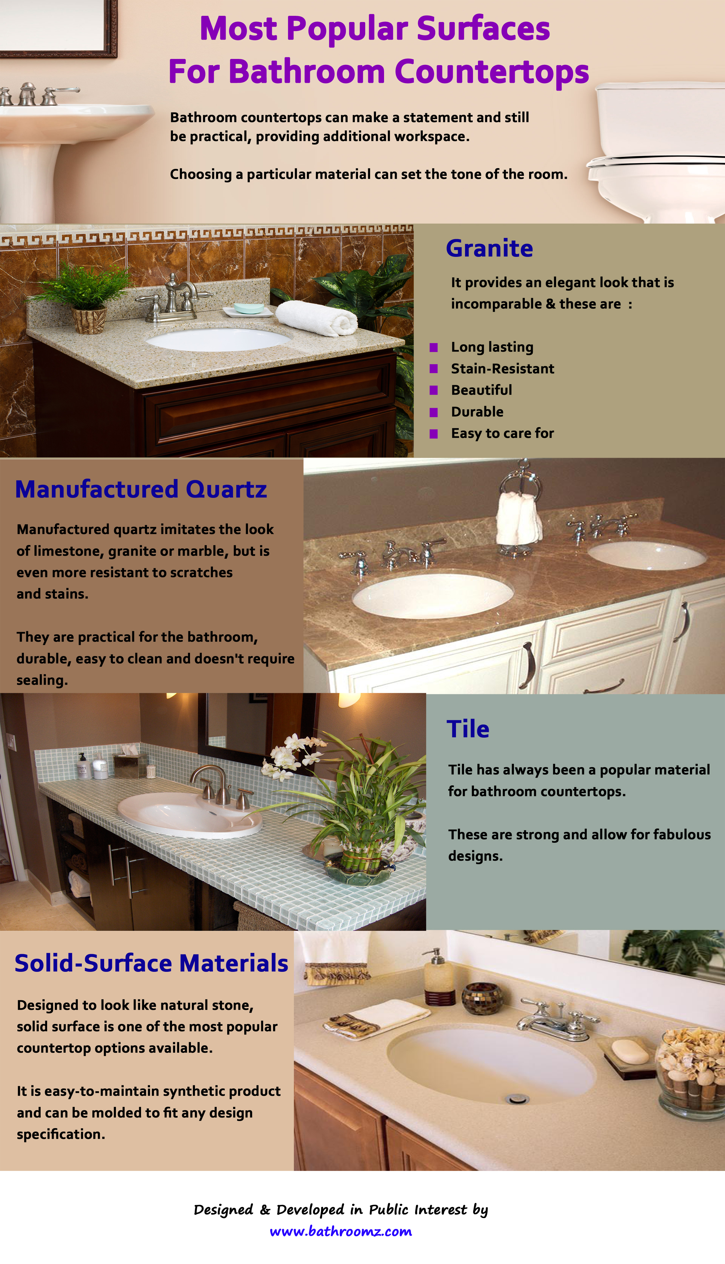 Countertop Different Types : Countertops Types For Bathrooms Types of Bathroom Countertops