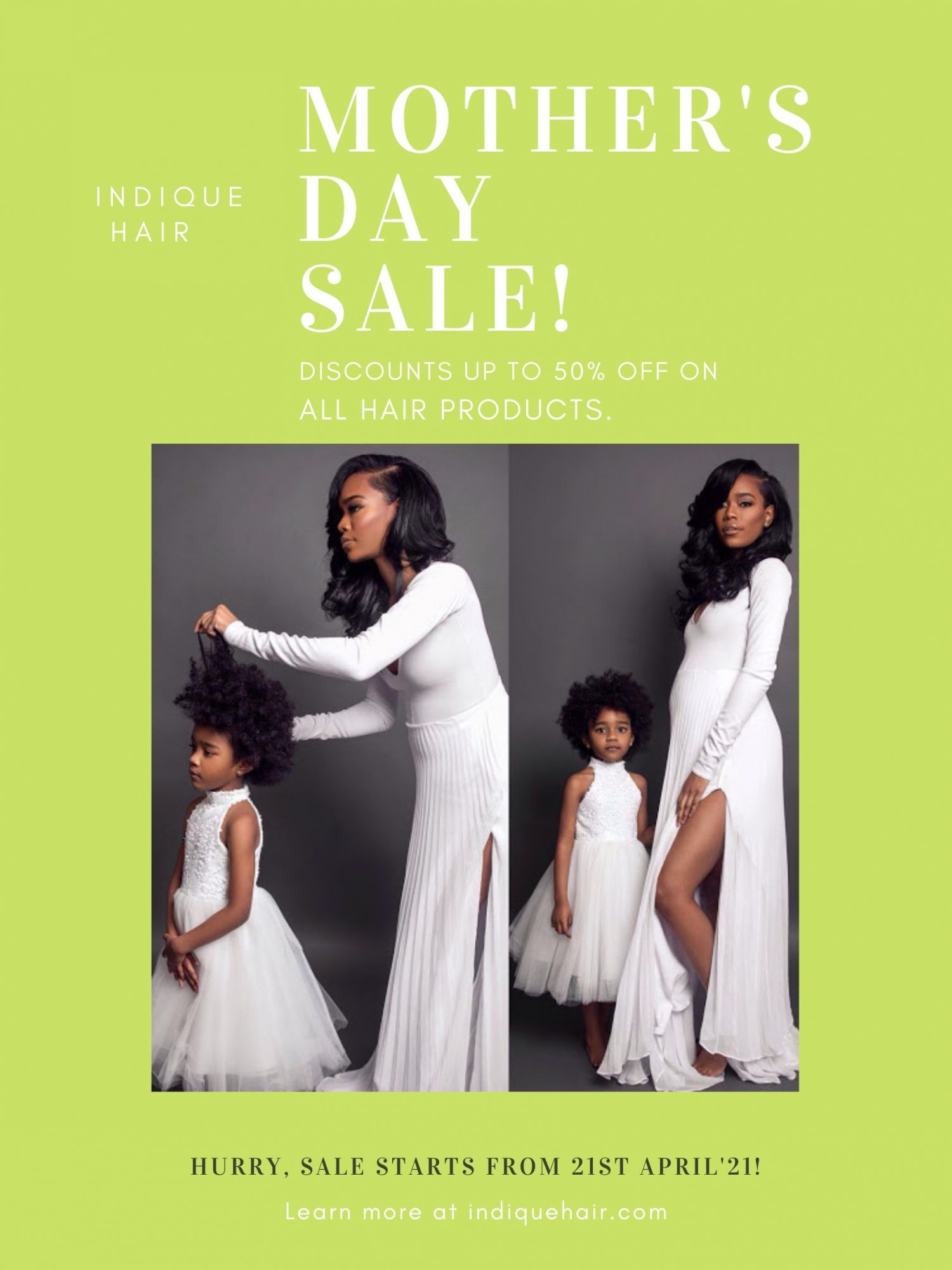 Save Upto 50% off on this Mother's Day by Indique Hair Infographic