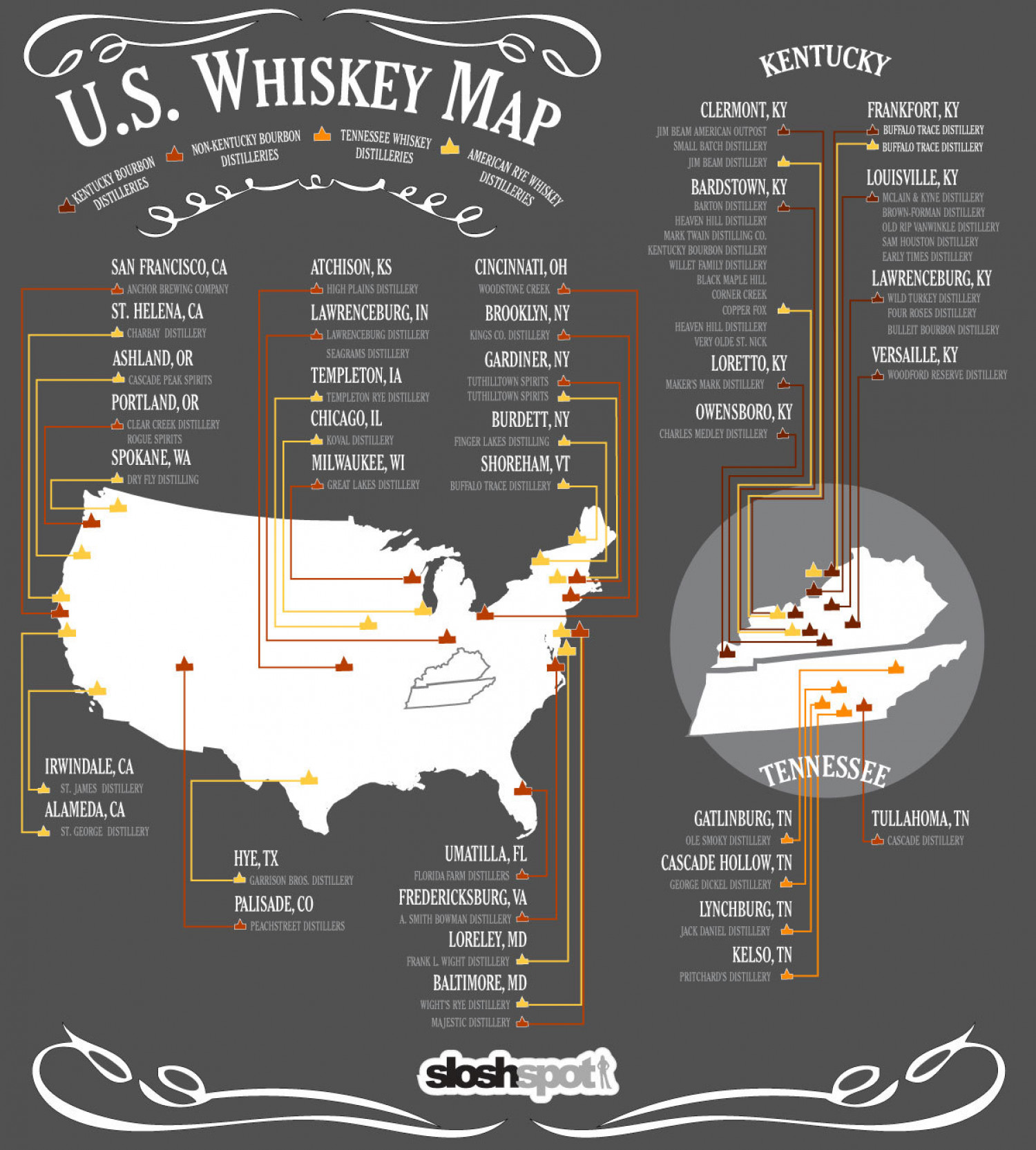 Us whiskey map for Ky bourbon trail craft tour map