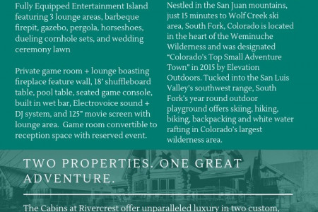Vacation rental in south fork colorado at River crest cabins Infographic