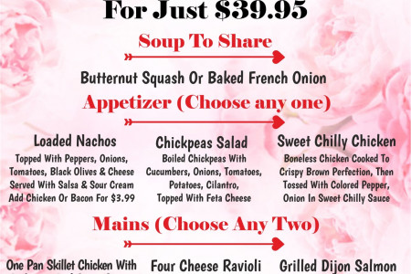 Valentine's Menu :- Four Course Meal For Two People  Infographic