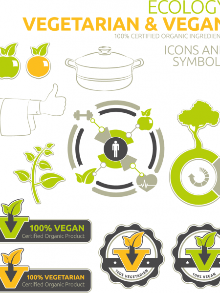 Vegan Icons and Symbols Infographic