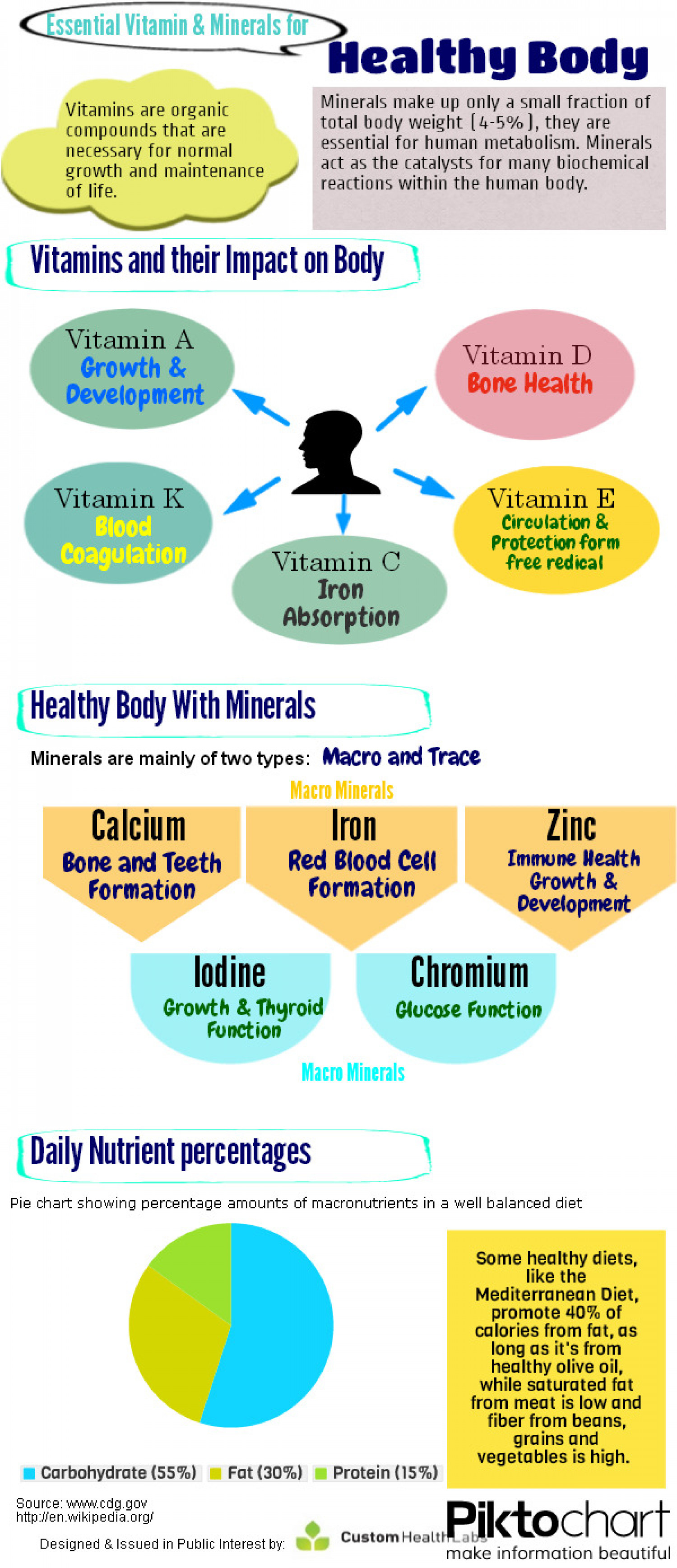 Vitamins & Minerals for Healthy Body Infographic