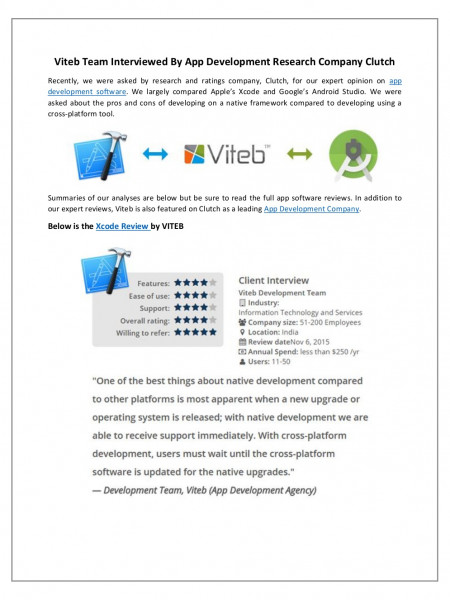 VITEB Review for Android Studio & Apple's Xcode in an Interview with Clutch Infographic