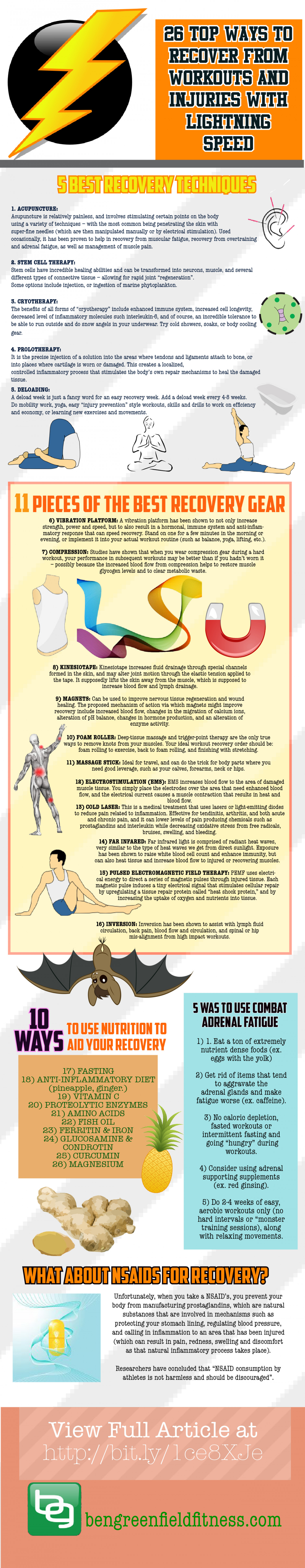 26 Top Ways to Recover From Workouts and Injuries With Lightning Speed Infographic