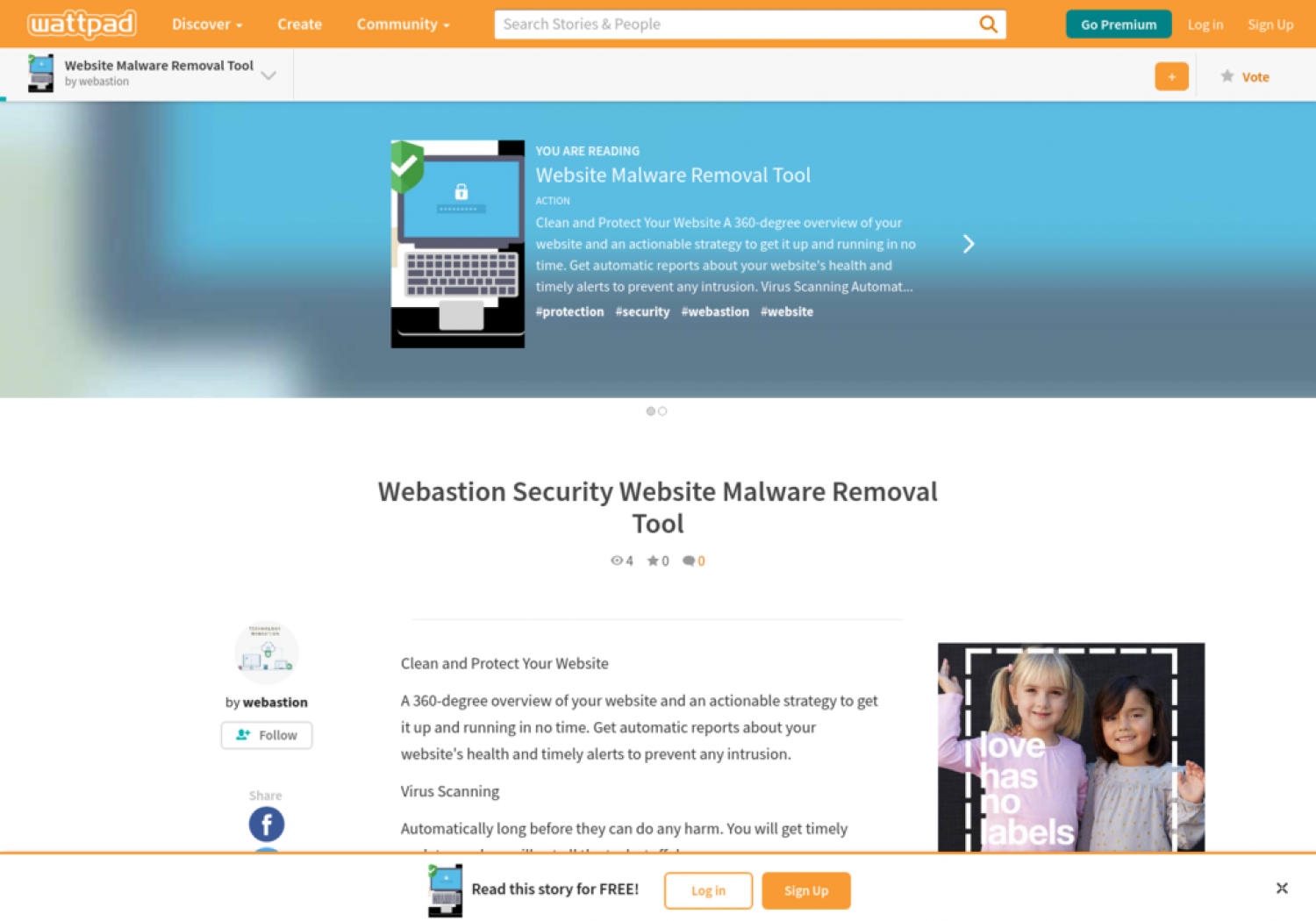 Website Malware Removal Tool - Webastion Security -wattpad Infographic