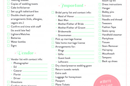Wedding Day Survival Checklist Infographic