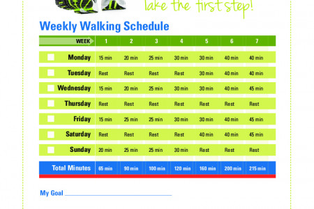 Weekly walking schedule for beginners  Infographic