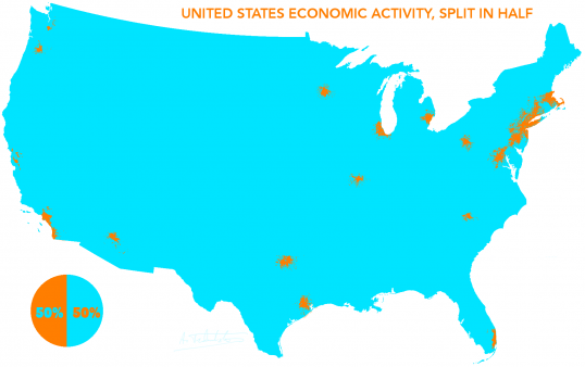 United States Economic Activity, Split in Half