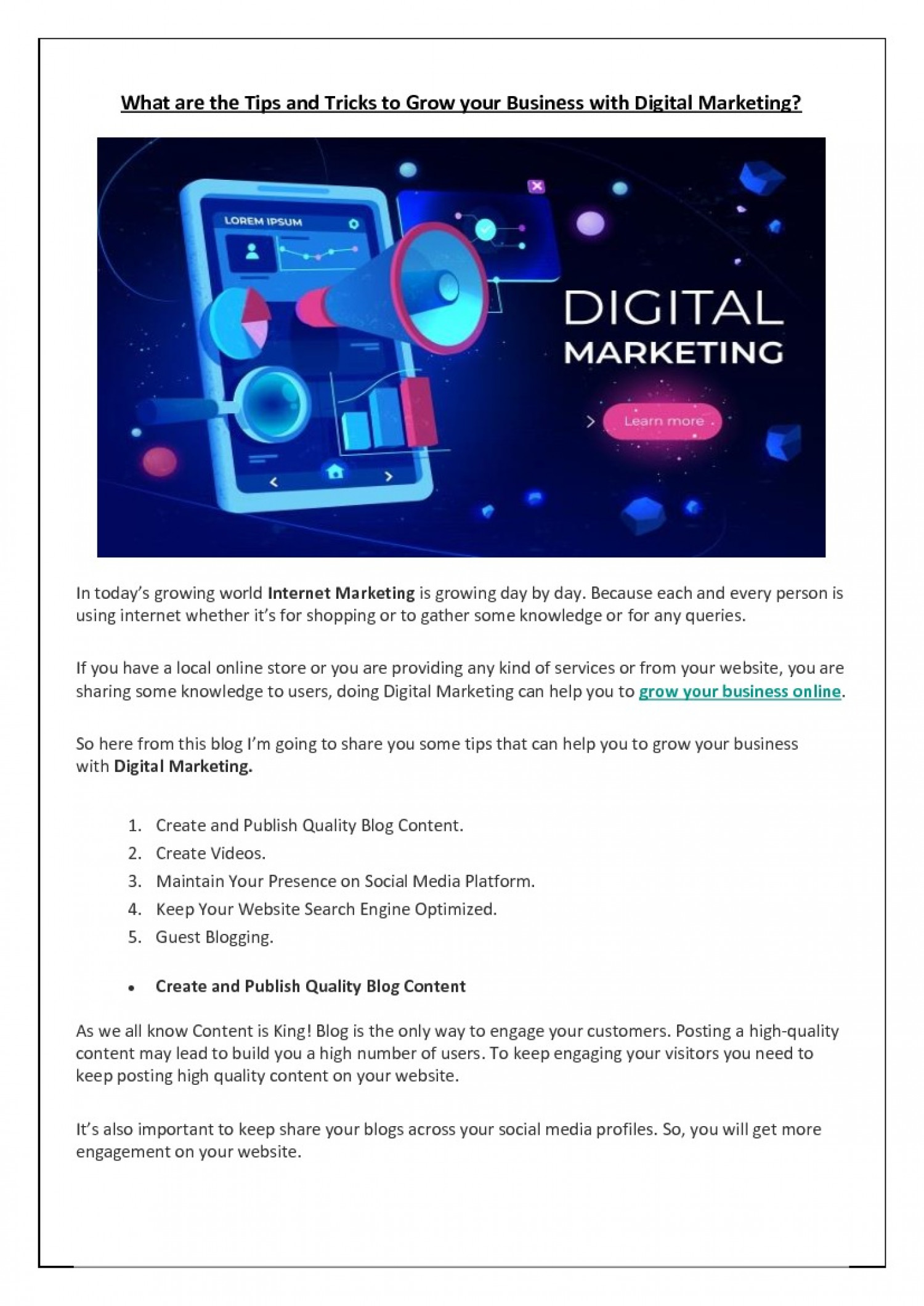 What are the Tips and Tricks to Grow your Business with Digital Marketing? Infographic
