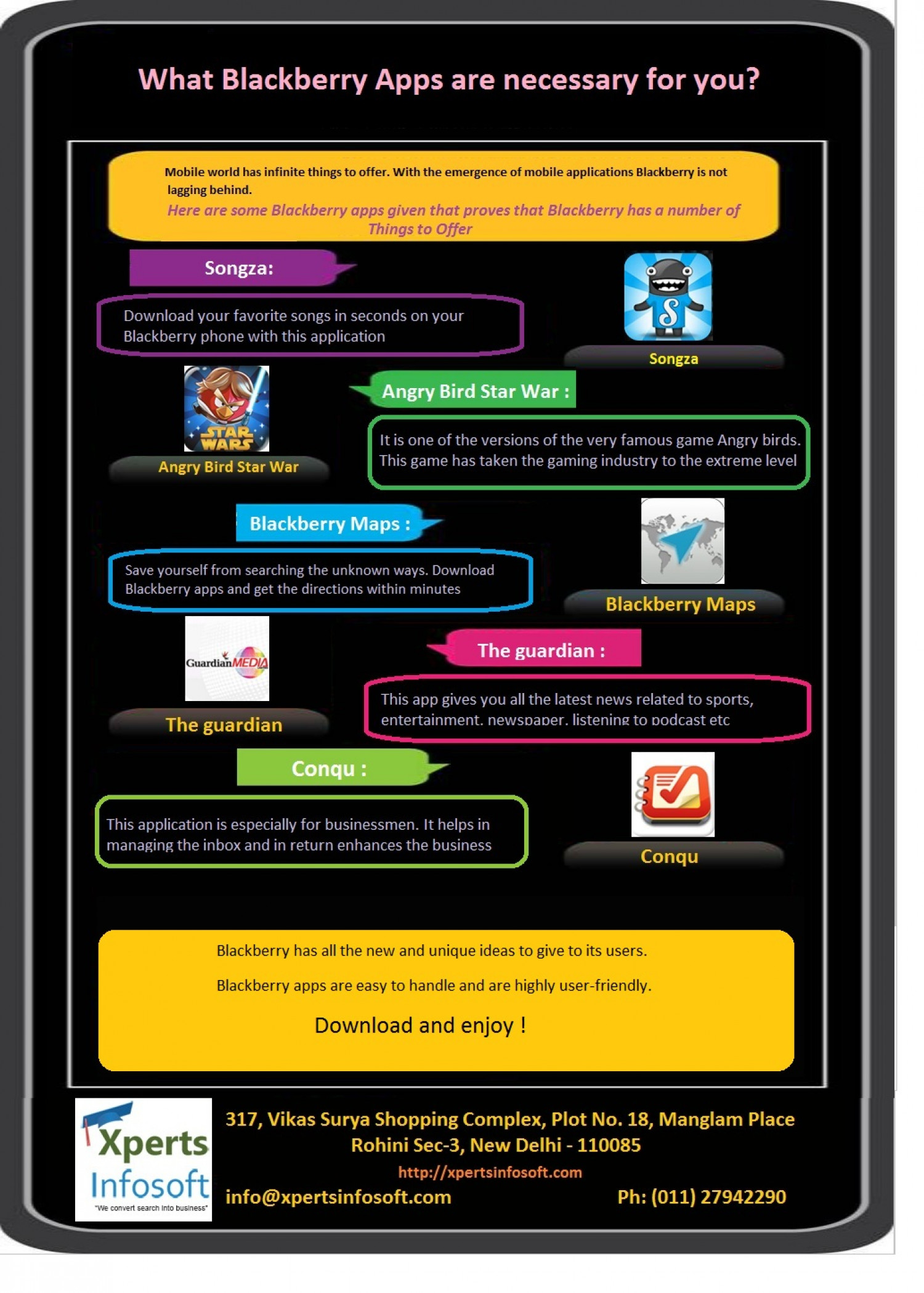 What Blackberry Apps necessary for your Blackberry phone Infographic