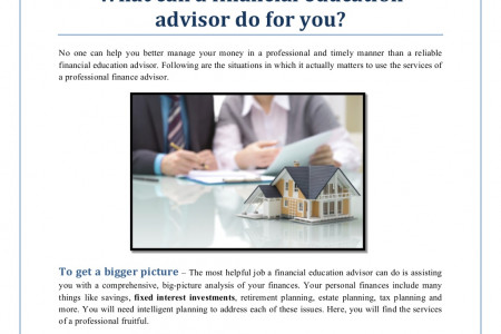 What can a financial education advisor do for you Infographic