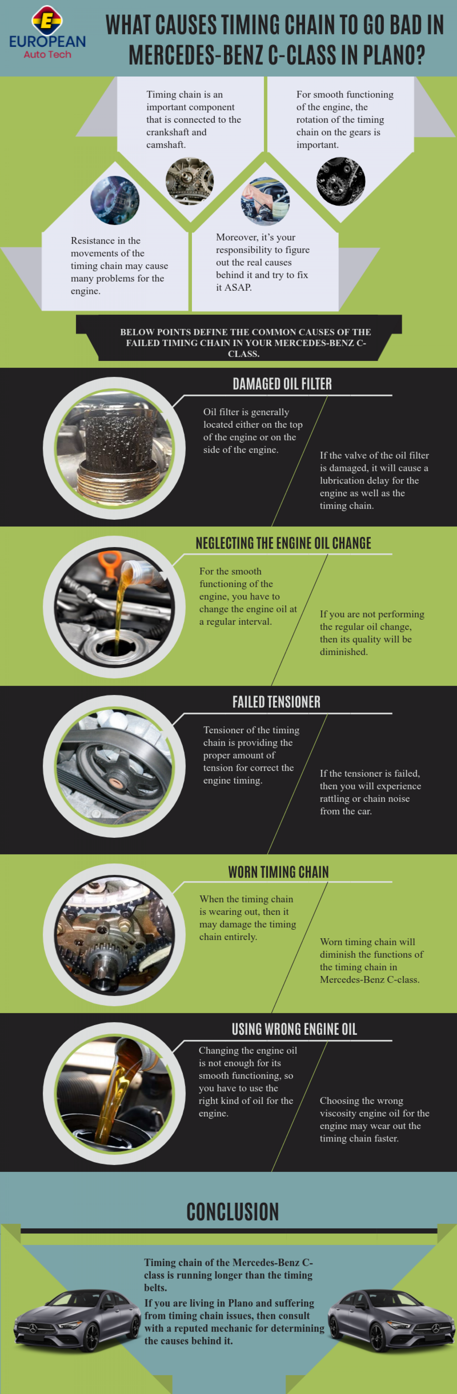 What Causes Timing Chain To Go Bad In Mercedes-Benz C-Class in Plano? Infographic