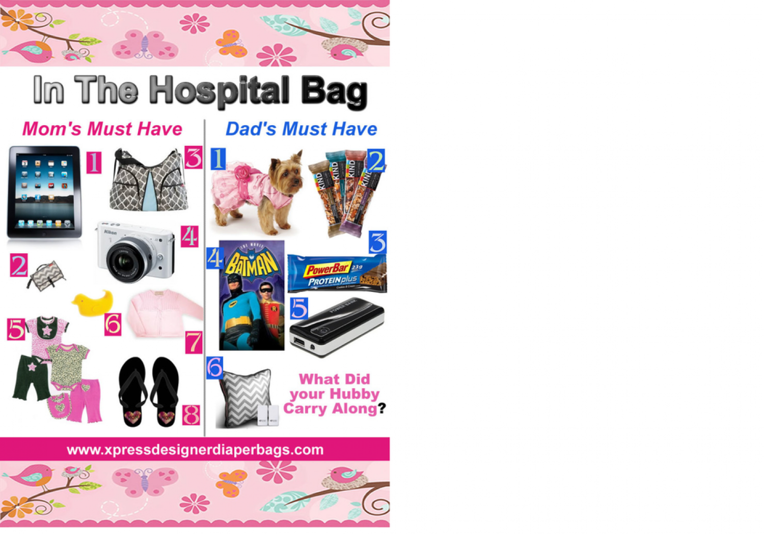 What is in your hospital bag? Infographic
