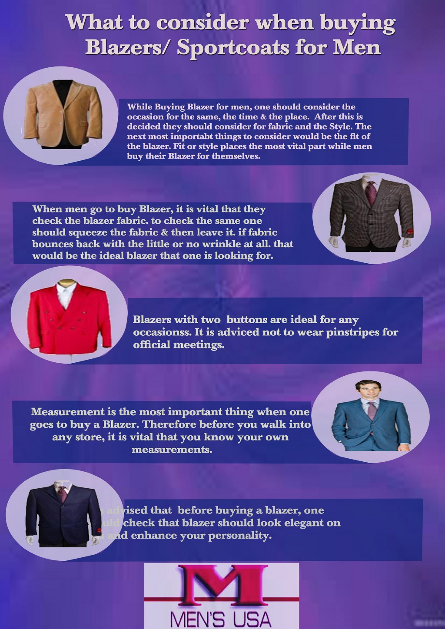 What To Consider When Buying Men's Blazers Infographic