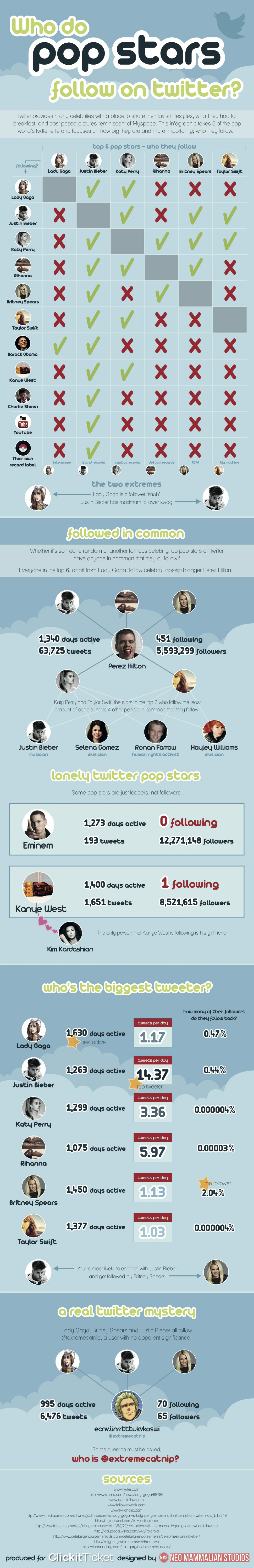 Who Do Pop Stars Follow On Twitter Infographic