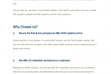 Why Green Leaf Air Is The Place To Come For Your HVAC System & Air Duct System Needs? Infographic