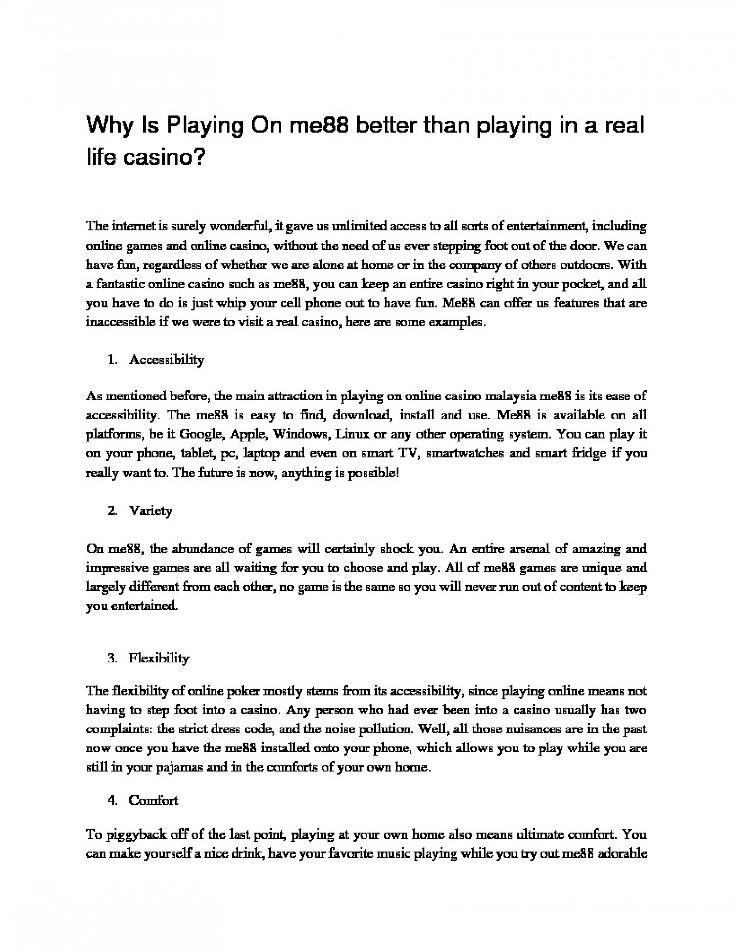Why Is Playing On me88 better than playing in a real life casino? Infographic