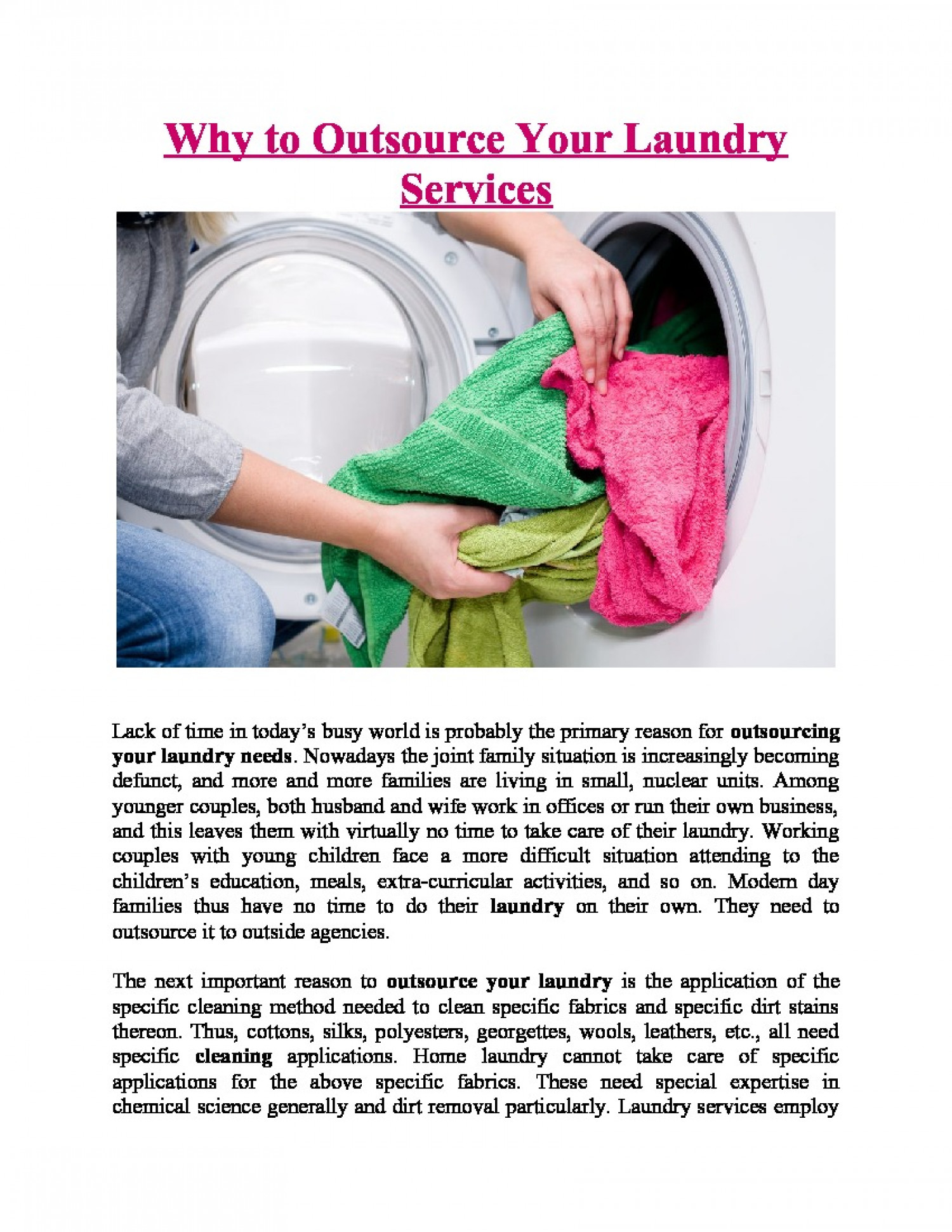 Why to outsource your Laundry Services Infographic