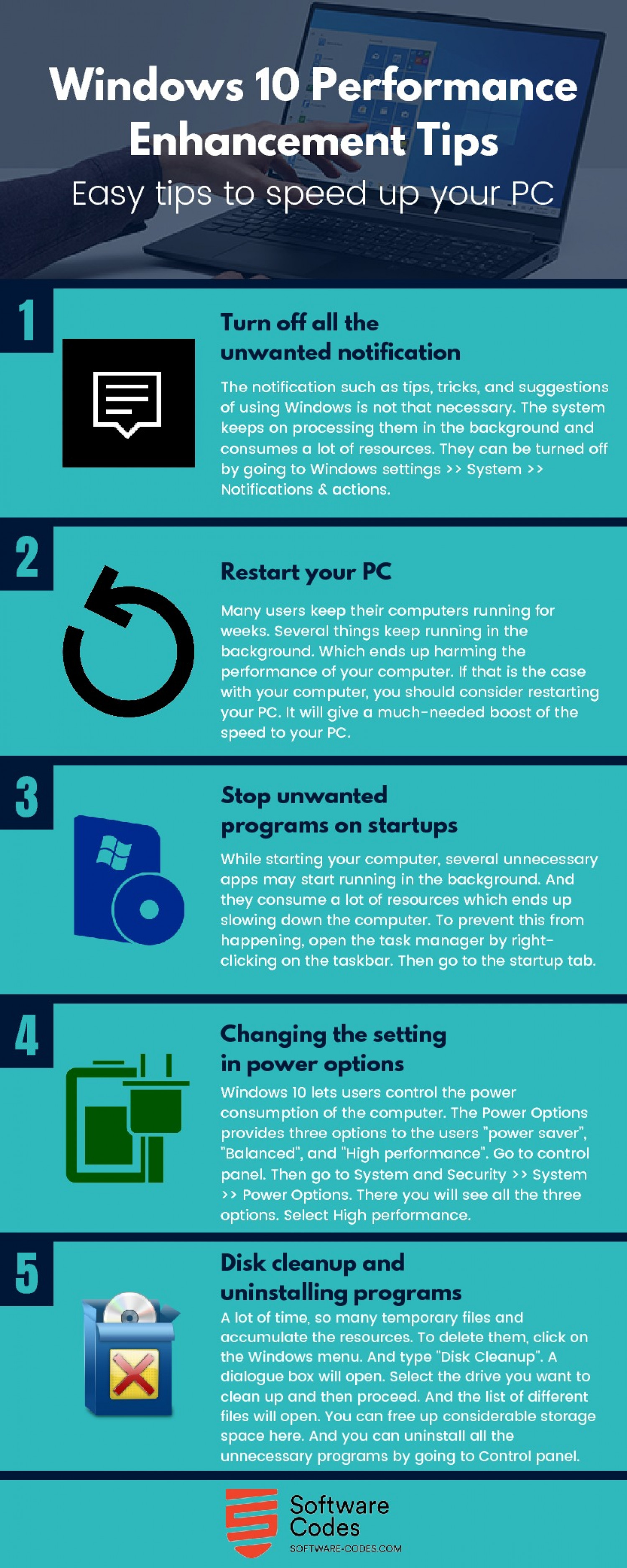 Windows 10 Performance Enhancement: Easy Tips to Speed up your PC Infographic