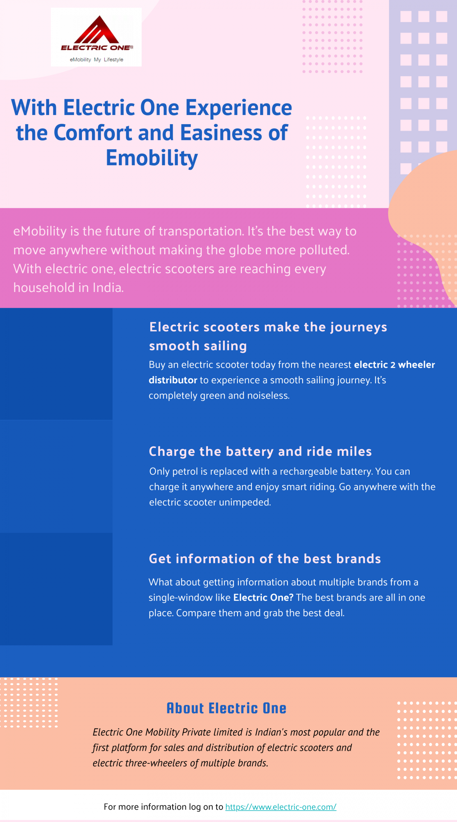 With Electric One Experience the Comfort and Easiness of Emobility Infographic