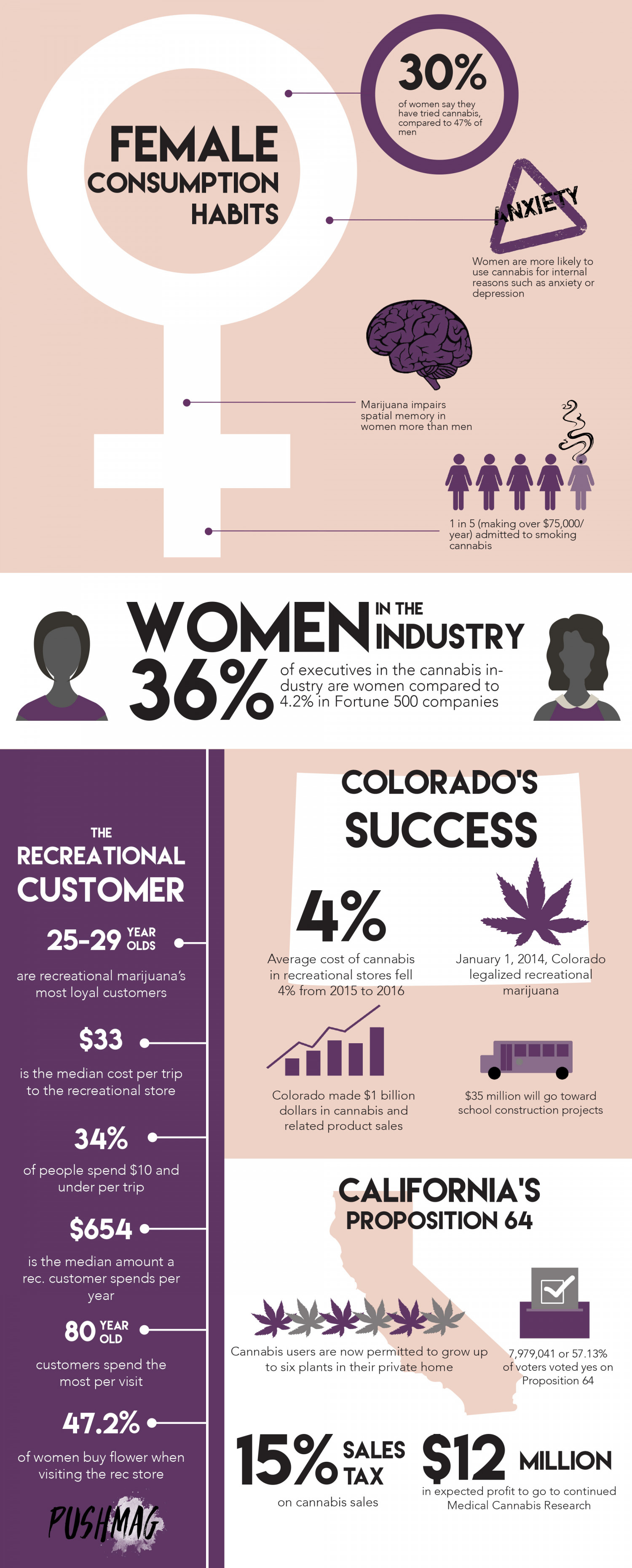 Women & Weed - By The Numbers | PUSH Mag Infographic