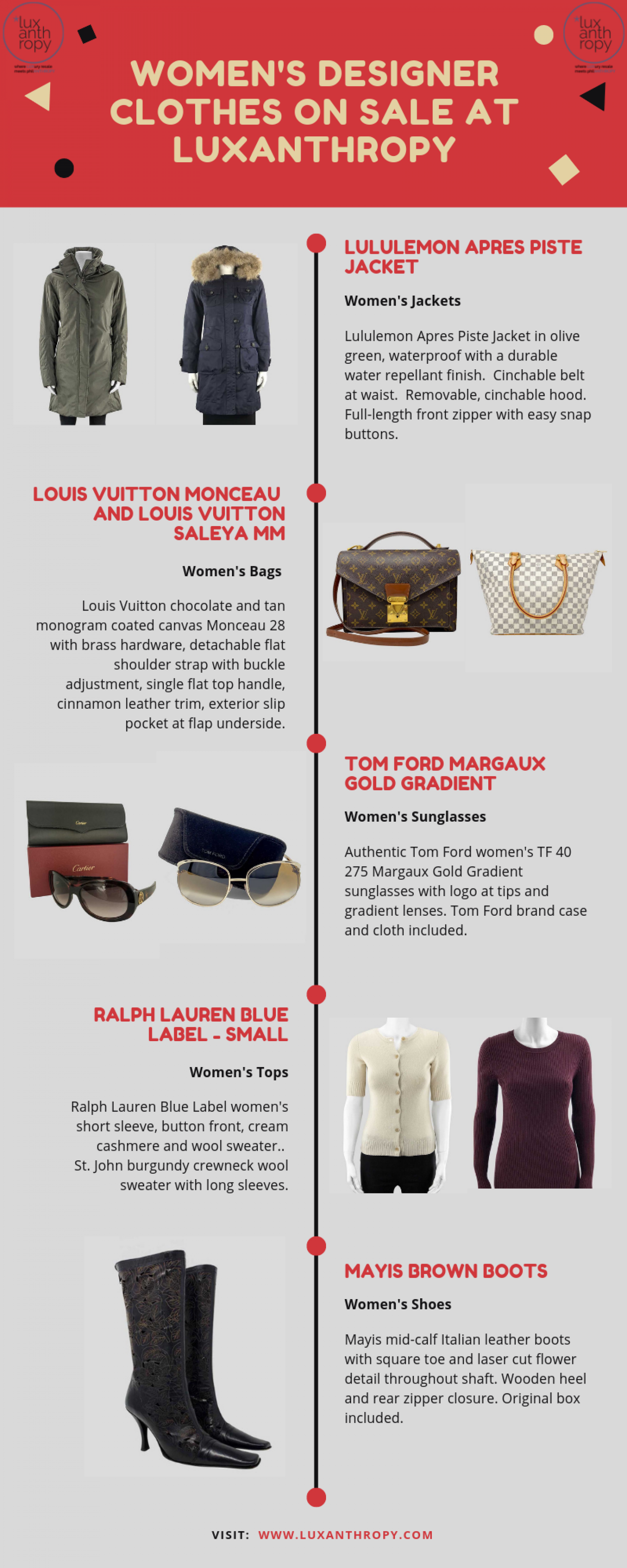 Women's Designer Clothing on Sale at LuxAnthropy Infographic