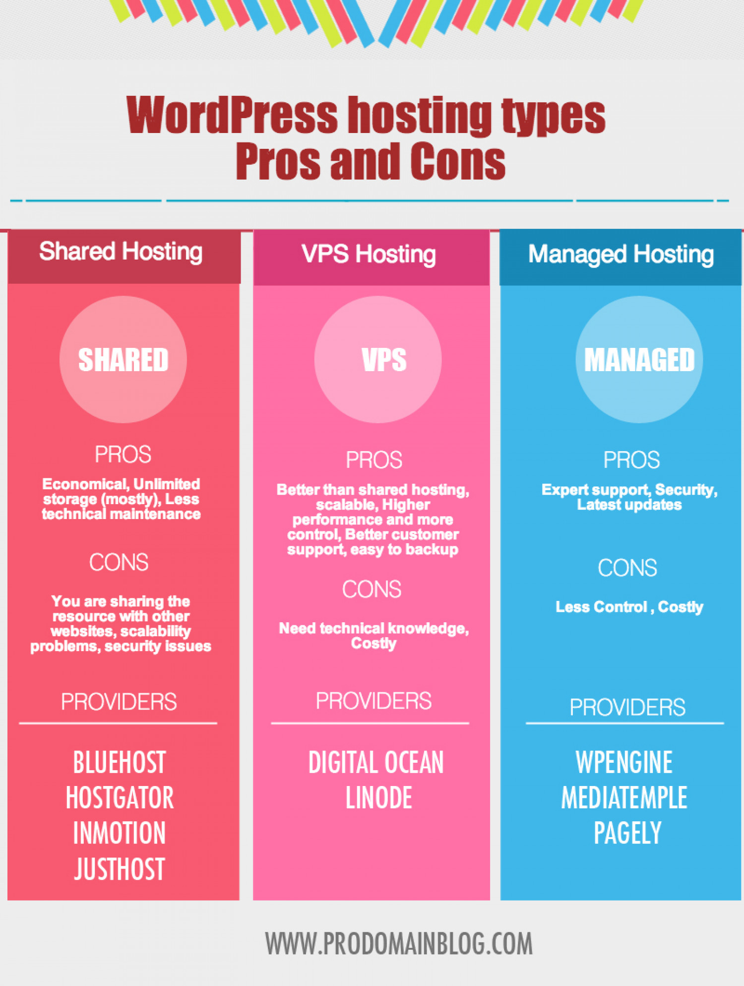 WordPress Hosting Types Pros And Cons Infographic