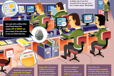 Work Hacks - 10 tips for reducing job stress and improving efficiency Infographic