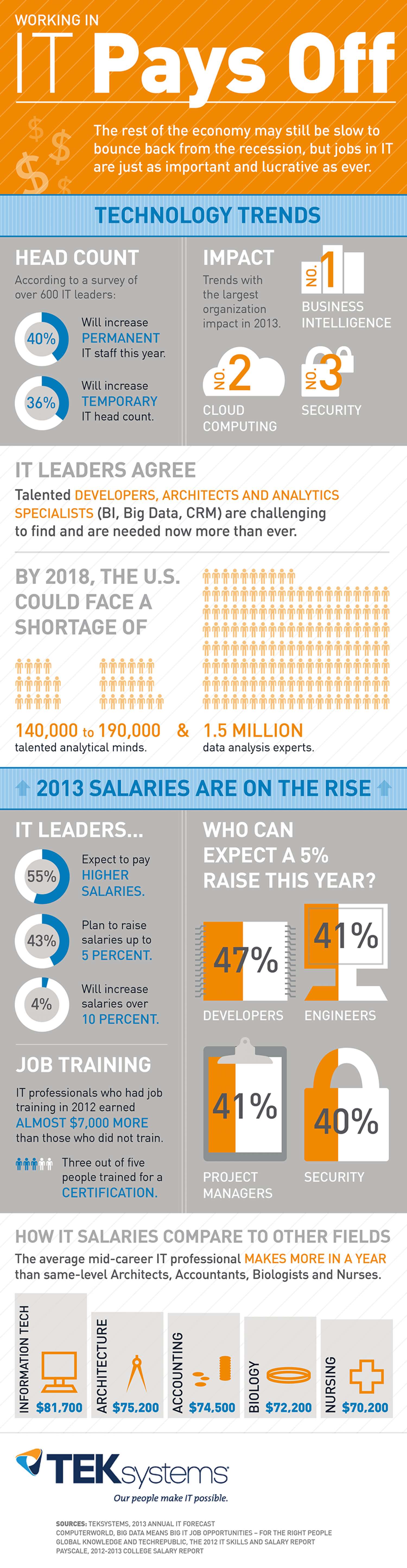 Working in IT Pays Off Infographic