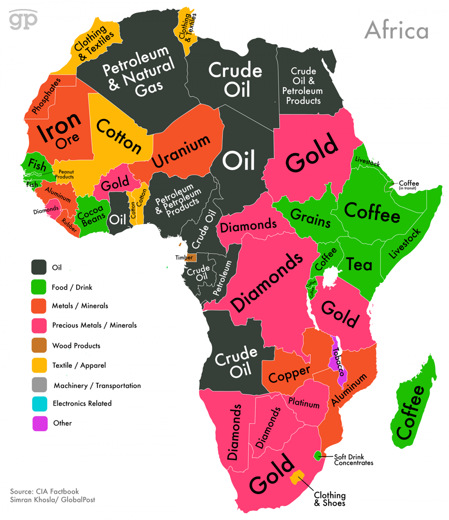 World Commodities Map: Africa Infographic