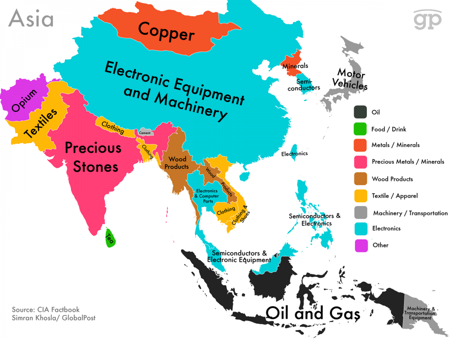 World Commodities Map: Asia Infographic