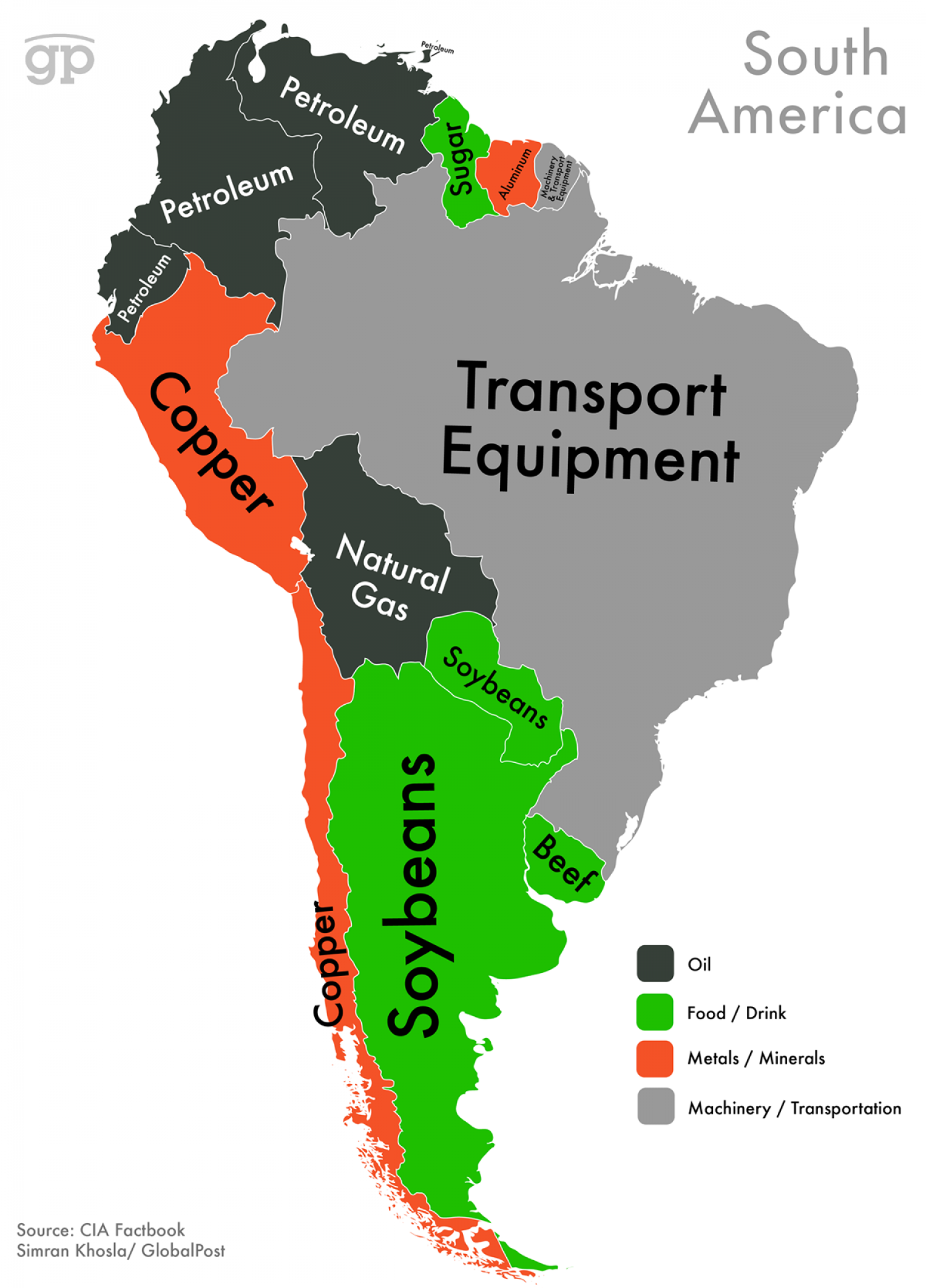 World Commodities Map: South America Infographic
