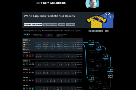 World Cup 2014 Predictions & Results Infographic