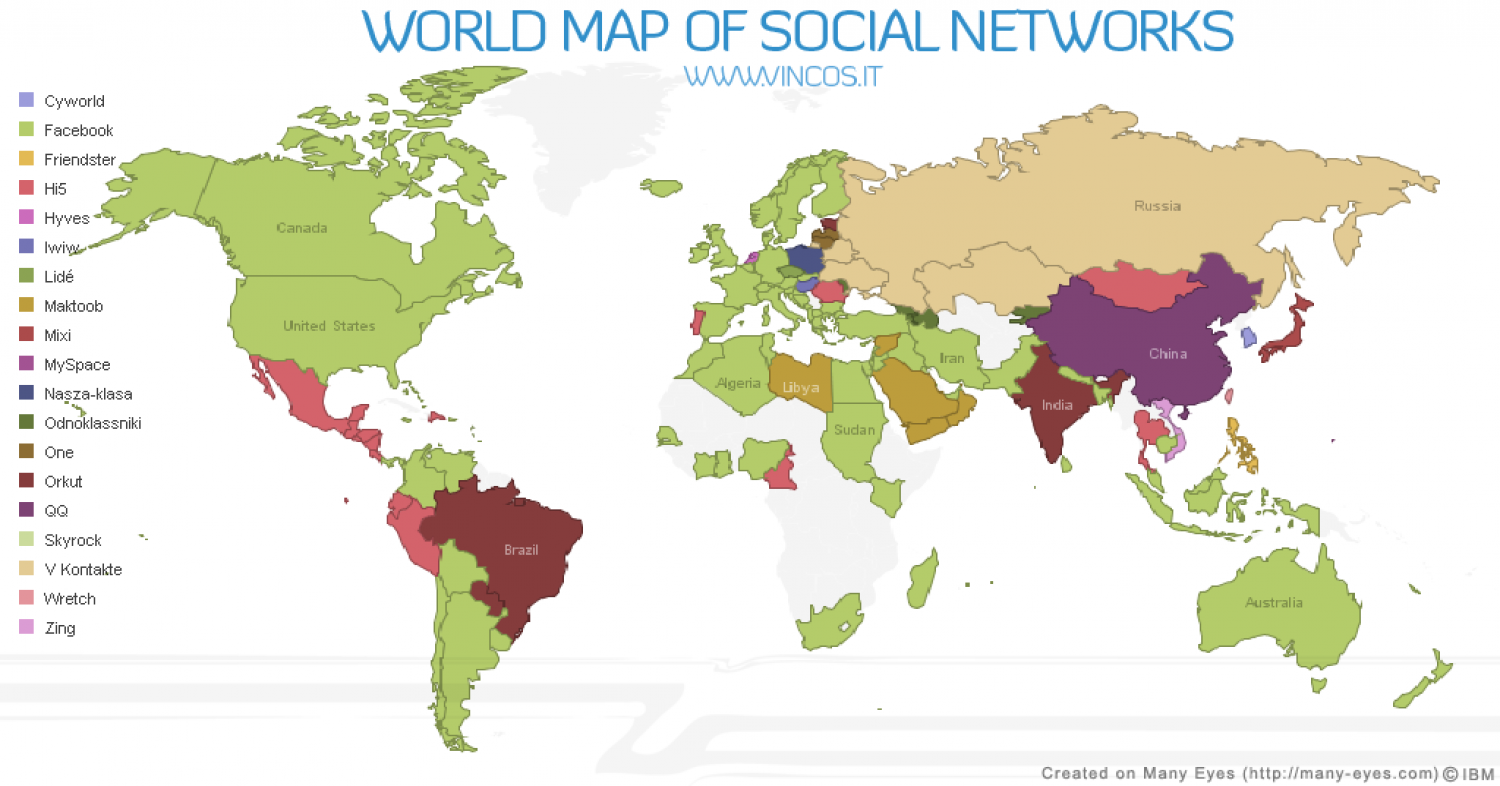 World Map of Social Networks Infographic