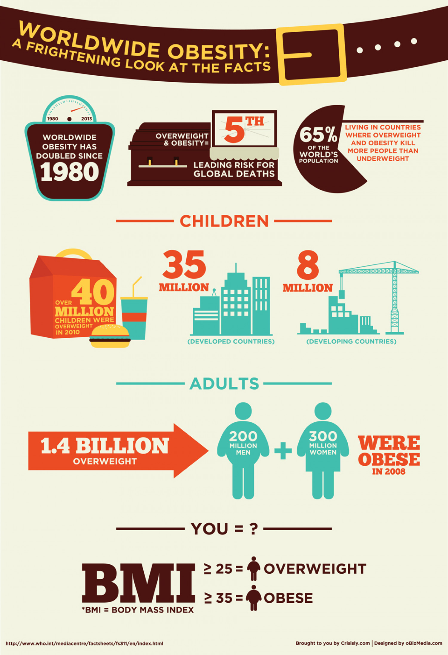 Worldwide Obesity - A Frightening Look at The Facts Infographic