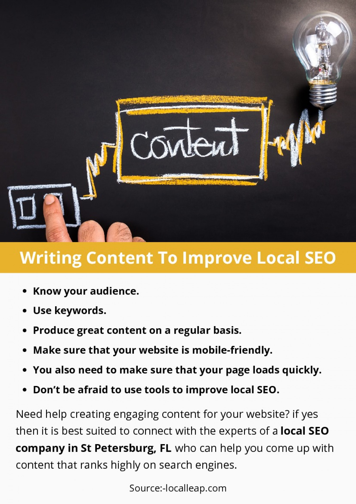 Writing Content To Improve Local SEO Infographic