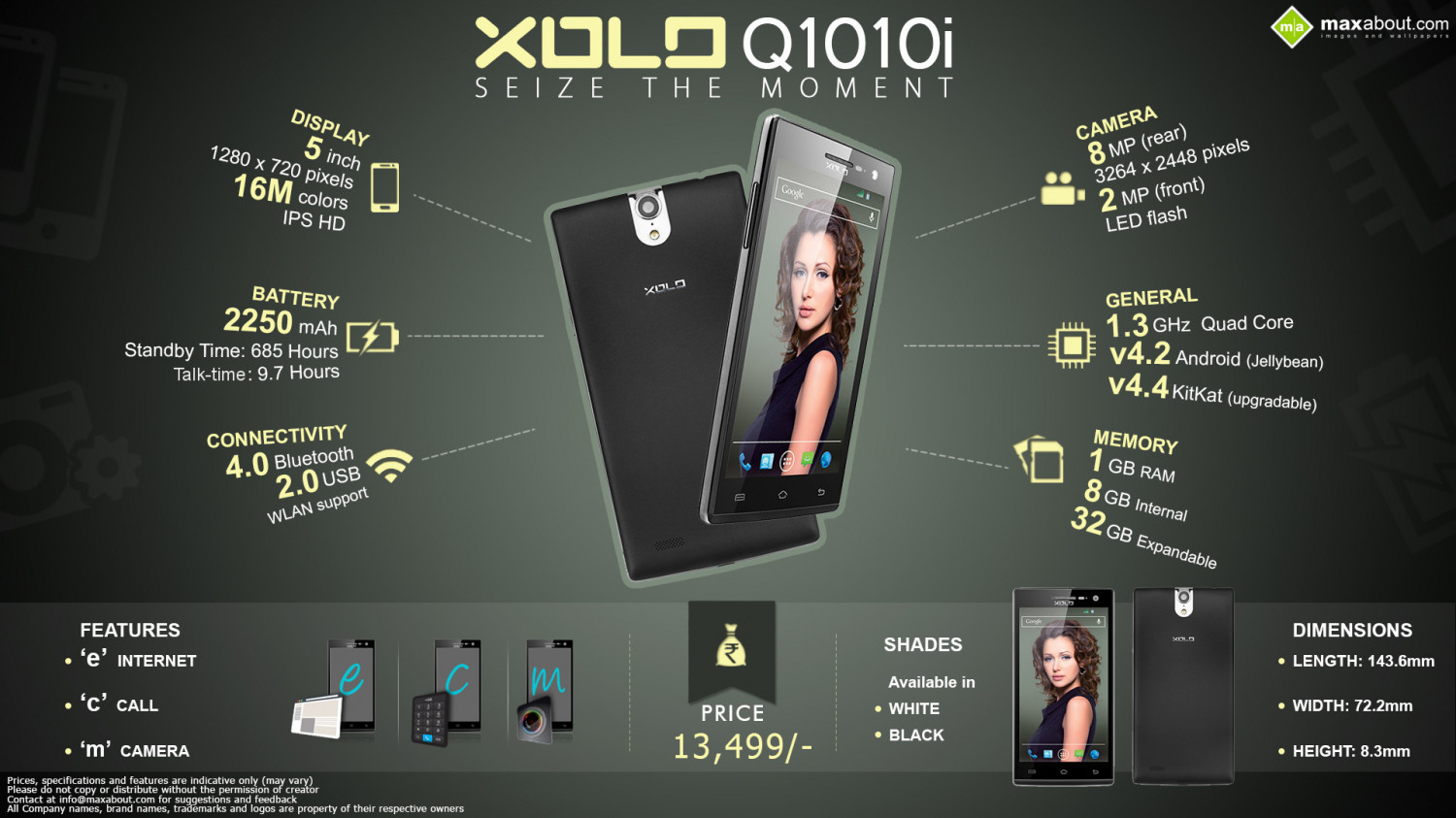 Xolo Q1010i Android smartphone - Seize the Moment Infographic