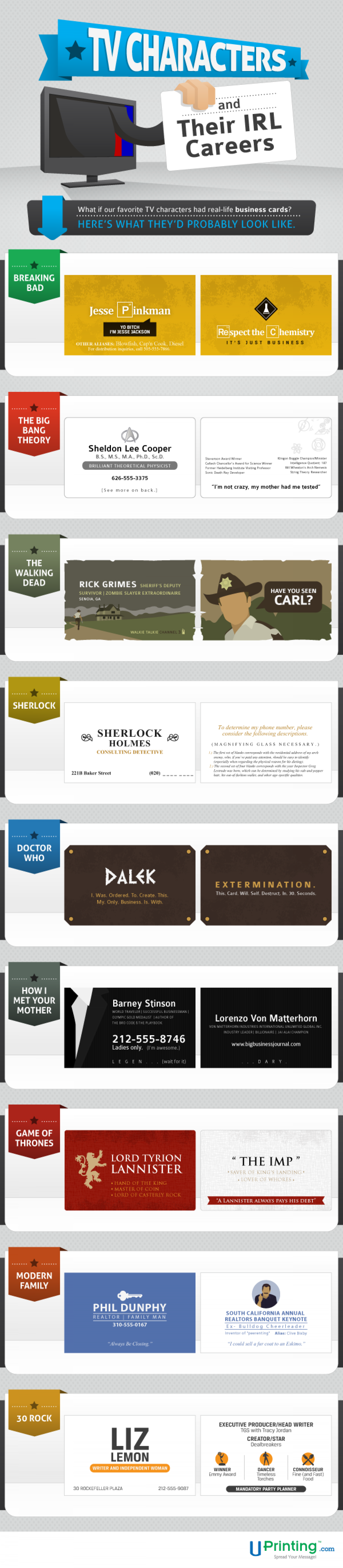 Your Favorite TV Characters and Their Business Cards Infographic