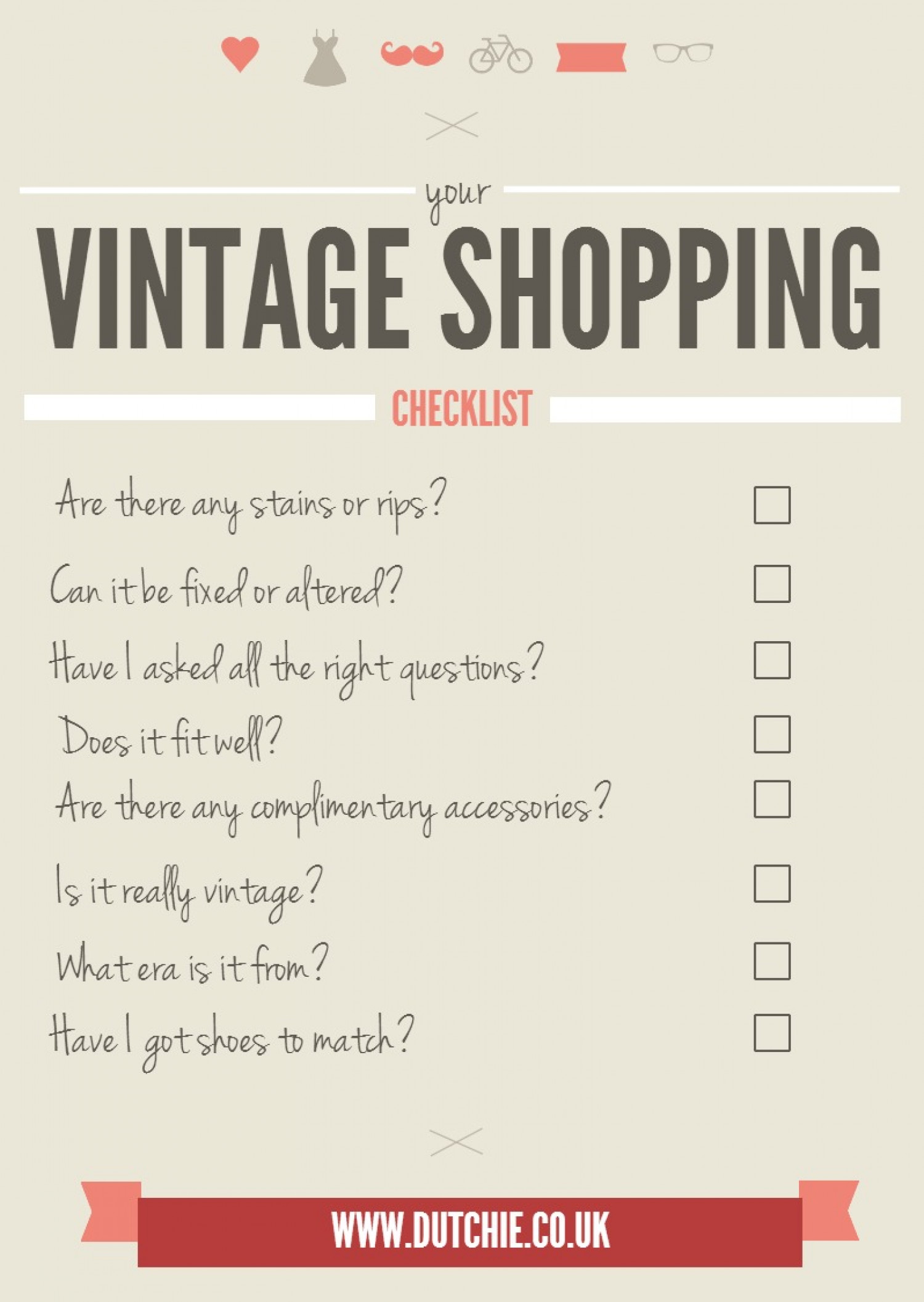 Your Vintage Shopping Checklist Infographic