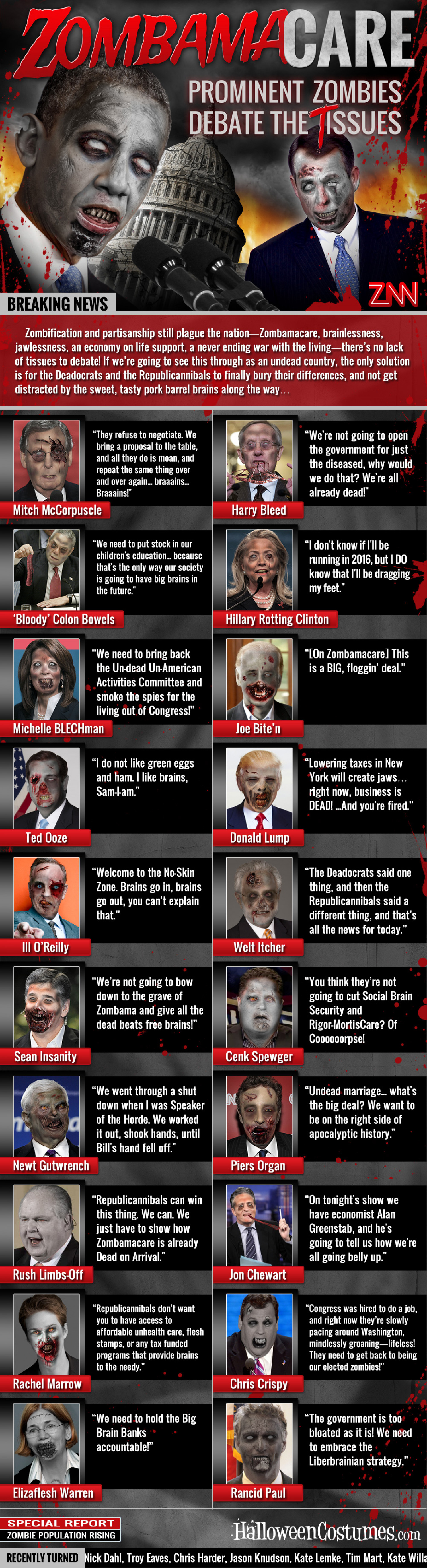 Zobama Care: Prominent Zombies Debate the Tissues Infographic