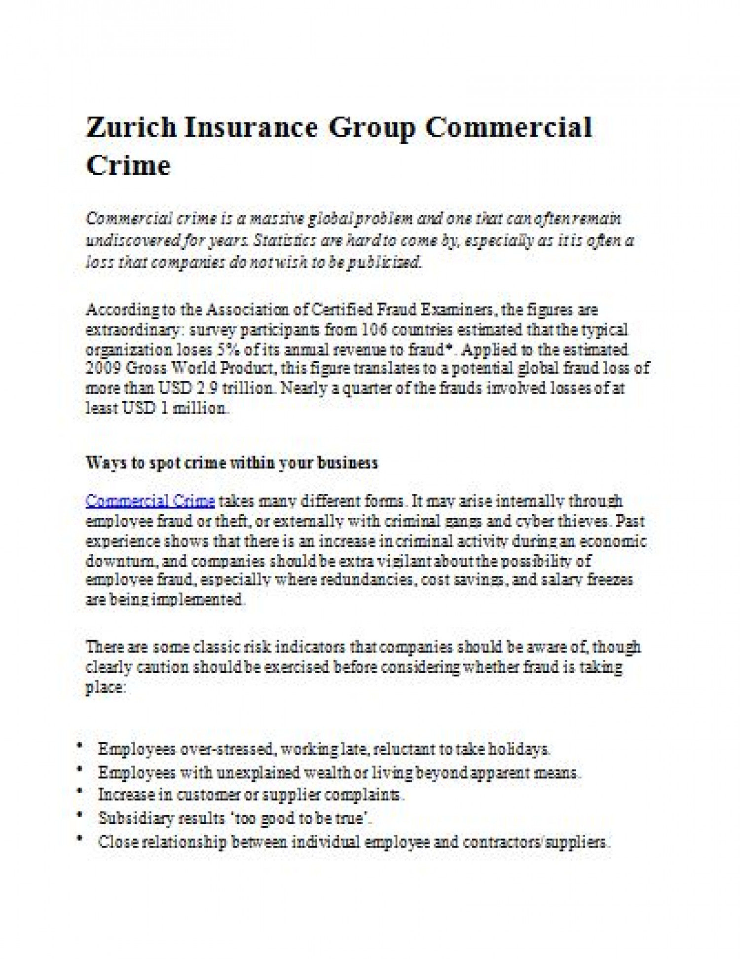 Zurich Insurance Group Commercial Crime  Infographic