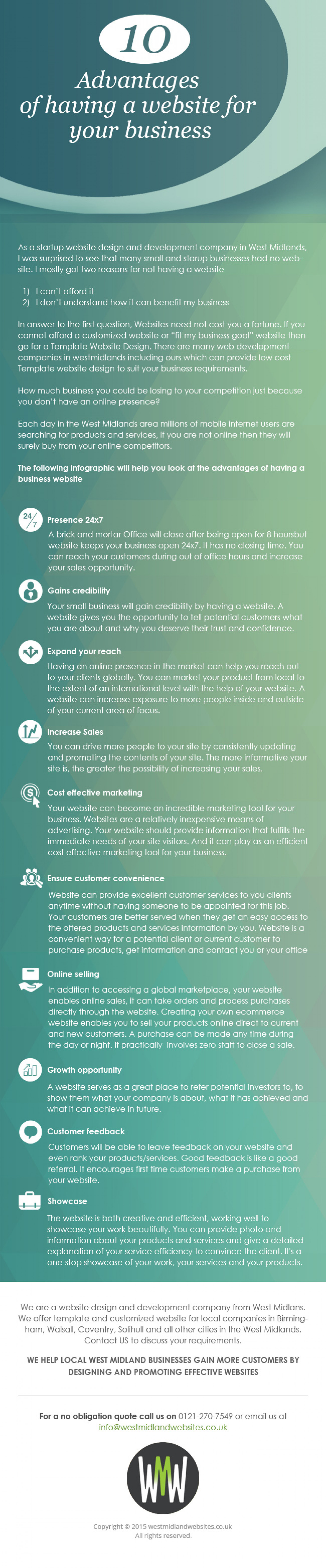 10 Advantages of Having a Website Design and Developed for Your Business Infographic